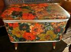 Vintage Sewing Bench Box Kitsch 1970's ? Vibrant Colors Green orange Post Modern