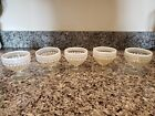 5 Anchor Hocking Moonstone Hobnail Footed Dessert Dish Sherbet + Bonus 4 Teacups