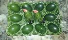 Vintage Salt and Pepper Shakers Chickens on an egg plate Green Hens