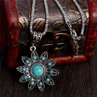 Style Hollow Crystal Flower Shaped Pendant Retro Turquoise Stone Necklac