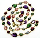 VTG EMERALD AMETHYST RUBY GLASS GOLD PLATED NECKLACE BY RALPH LAUREN
