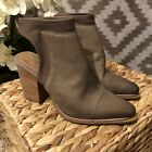 Vince Camuto Sz6 VP Samera Heeled Pointed Toe Ankle Boot Taupe Tan Gray Leather