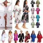 Women Silk Satin Robes Bridal Wedding Bridesmaid Bride Dressing Gown Kimono Robe