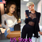 Women Sheer Mesh Top Polka Dot Long Sleeve Fitted Round Neck Party Cocktail Club
