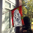 White Standard Poodle Red Snowflakes Holiday Flag Canvas House Size