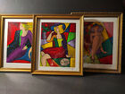"""LINDA LE KNIFF 3 PICTURES DEBBY CONSTANCE ENTRE NOUS FRAMED SIGNED 10"""" x 12"""""""
