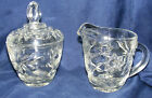 vintage ANCHOR HOCKING Star of David EAPC Prescut CREAMER and SUGAR BOWL