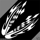 Car Racing Checkered Flags White 17'' x 25'' Vinyl Hood Decals Stickers CG74