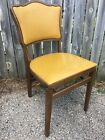 STAKMORE PADDED FOLDING CHAIRS YELLOW VINYL / WOOD VINTAGE SET OF 4