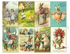 8 Vintage Old World Easter Bunny Hang Tags Scrapbooking Paper Crafts 248