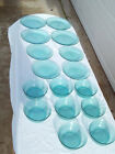 16 Pc Vintage Arcoroc France Glass Plates And Bowls Teal / Turquoise / Aqua
