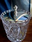 VINTAGE, CLEAR GLASS ICE BUCKET WITH SILVERTONE LID VGUC
