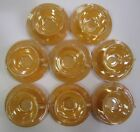Set of 8 Vtg Anchor Hocking Fire King Peach Luster Tea Set Cup Saucer Iridescent