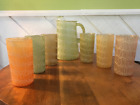 Vintage MCM Color Craft Spaghetti Glass Green Pitcher and Six Multi-Color Tumble