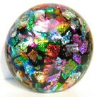 Montana Art Glass Dichroic Fused Half Marble DOME Paperweight Free Standing