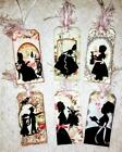 Set of 6 Hang Tags Vintage Silhouette Ladies Gift Tags Scrapbooking Cards 37R