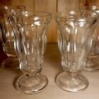 Vintage Set of 4 ICE CREAM SUNDAE Parfait FOOTED Glass Tumbler Bowls HEAVY Tall