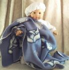 """Doll Clothes Baby Made 2 Fit American Gril 15"""" Bitty Boy Bunting Blanket Beret'"""