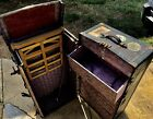 Vintage antique wardrobe  Steamer Trunk with drawers Train car baggage