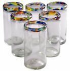 Orion Mexican Glassware Confetti Rim Perfecto Tumbler 16 oz  Set of 6