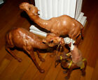 Vintage Large size 12 Camel Leather Wrapped Figure Figurine Statue Lot of 3