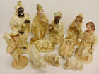 LARGE 12 Nativity Set Plaster 3 Wise Men Joseph Mary Jesus Figures Chirstmas