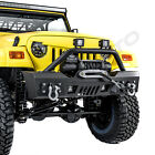 Rock Stubby Front Bumper+Winch Plate+2x LED Light for 97 06 Jeep Wrangler TJ