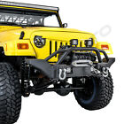 Full Crawler HD Front Bumper+Winch Plate+2x LED Light for 97 06 Jeep Wrangler TJ