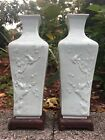 Pair Chinese Monochrome Glaze Porcelain Carved  Antique Vase China With Stand