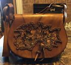 Vintage Brown Hand Made Genuine  Leather Cowboy Saddle Bag With Natural Feather
