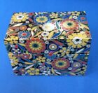 J. Chein Tin Metal Recipe Box~ Retro Mod Floral Black Gold Floral USA EXCELLENT
