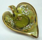 Vintage Glass Heart Shaped Leaf  Hand Painted Gold Trim Pristine Never Used Dish
