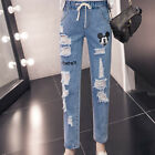 Jeans Women Mickey Boyfriend Ripped Denim Pants Vintage Straight Casual Pants