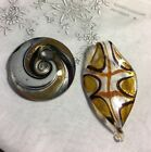 "Art Glass Jewelry 2 Black Gold & Silver 2-1/2"" & 1-3/4""  Pendant VC-80"