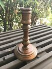 Antique Single Handmade Wooden Candle Stick Holder 7 inches