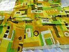 """Vtg Drapery Upholstery Fabric Gold Lime yellow 2 pcs   16"""" x 92"""" seam at 46"""""""