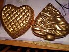 Lot of 2 Vintage Copper Tin Molds Jello Mold Xhristmas Tree and Heart