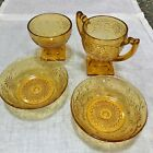 INDIANA GLASS DAISY PATTERN  - Open Sugar, 2 Fruit/Sauce Bowls,