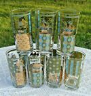 Vintage Signed George Briard Glasses Set of 7 Americana Design Great Color