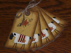 10 Primitive Sheep Pip Berry Star Americana Hang Tags Gift Ties Tree Ornies