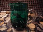 Vintage Green Glass Creamer Pitcher Clear Glass handle