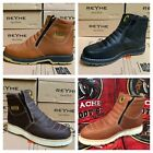 MENS WORK BOOTS GENUINE LEATHER ZIP UP SAFETY SOFT TOE OIL RESISTANT HONEY