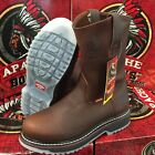 MENS WORK BOOTS APACHE GENUINE LEATHER BROWN ICE COLOR SOLES OIL RESIS PULL ON