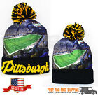 Pittsburgh City Picture Print Skull Cap winter Hat Black Gold NEW