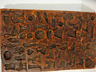 Antique Candy Springerle Cookie Wax Wood Mold Board Numerous Figures  Lg 7 x 12
