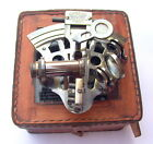 VINTAGE MARINE COLLECTIBLE BRASS WORKING GERMAN NAUTICAL SEXTANT W/ LEATHER BOX