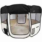57 Dog Kennel Fence Puppy Playpen Exercise Pen Folding Crate Foldable Black US