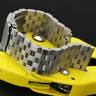 24mm Solid Link Wrist Watch Band Stainless Steel Strap Silver Cool Men Women