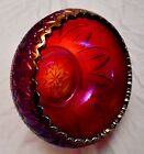L.E Smith Red Base Carnival Glass Saw Tooth Bowl MINT Hand Molded
