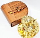 Valentines Gift idea Vintage Brass Compass with Handmade Leather Case Compass